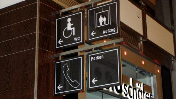 Die Leuchttafel für WCs, Parkhäuser und Aufzüge