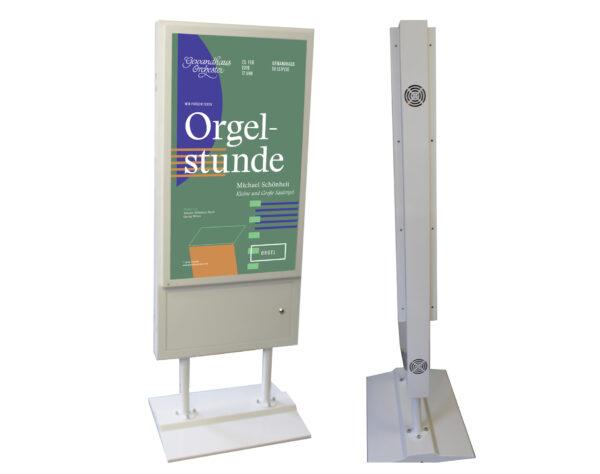 doppelseitiges Schaufenstersystem für Werbung und als Orientierungspunkt