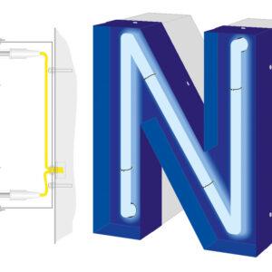 Außenwerbeanlage in Neonoptik für optimale Beleuchtung der Werbeschrift